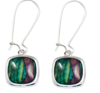 Square Silver Plated Drop Earrings with Heathergems HE16