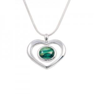 Silver Heart Pendant with Heathergem HP21