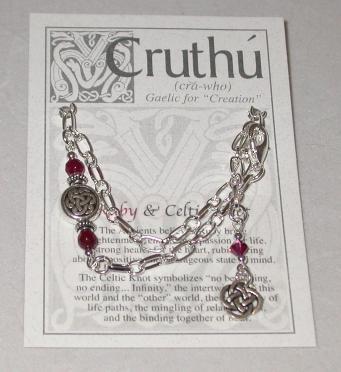 Celtic Lughs Knot with Real Gemstone Bracelet CB-01