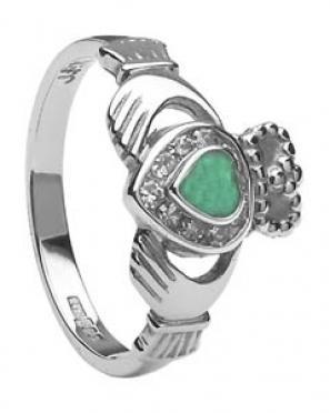 Ladies Diamond Claddagh Emerald Heart CLAD30DE