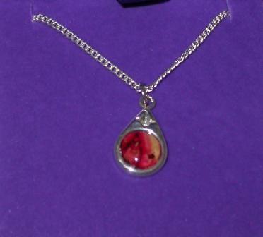Silver Small Tear Drop Pendant with Heathergem HP15