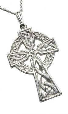 Extra Large 2 Sided Celtic Cross Pendant Silver C64