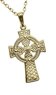 Large 2 Sided Celtic Cross Pendant Gold C67