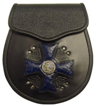 Maltese Cross Sporran with blue inlay
