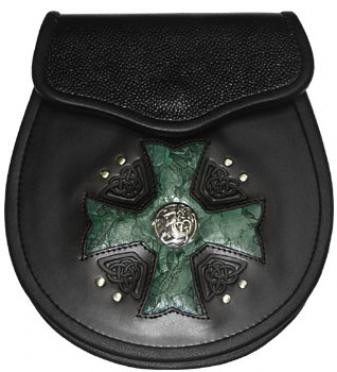 Maltese Cross Sporran with green inlay