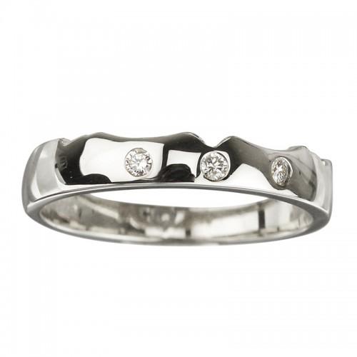 18K White Diamond (0.02CT) Wedding Band S2638