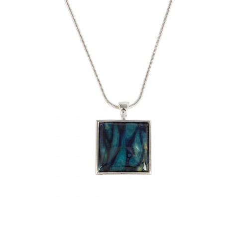 Silver Plated Heathergem Square Necklace HP101
