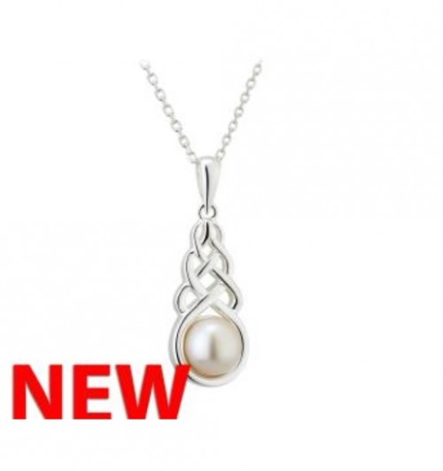 Silver Pearl Celtic Knot Pendant S46364