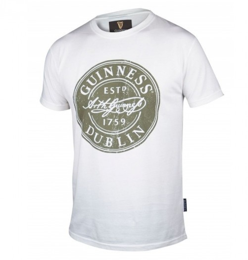Guinness White Distressed Label T-Shirt G6070