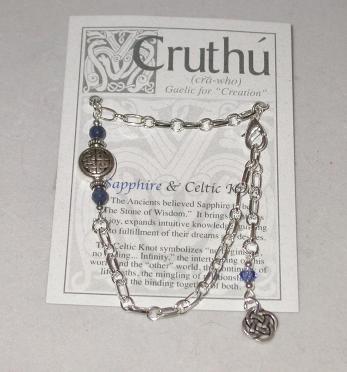Celtic Quad Knot with Real Gemstone Bracelet CB-02