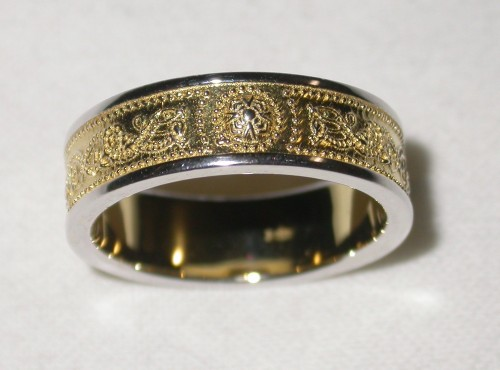 Warrior Shield Ring yellow gold plated with silver trims Sz 7