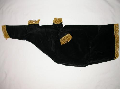Black Bag Cover with Gold Fringe Trim