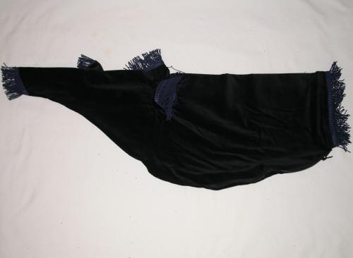 Black Bag Cover with Navy Fringe Trim