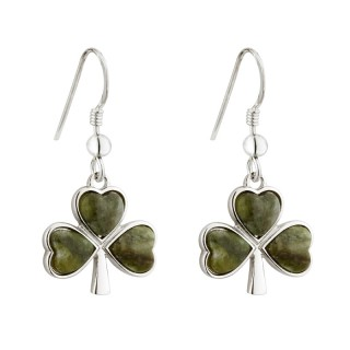 Connemara Marble Shamrock Drop Earrings s33539