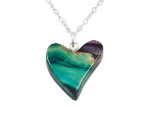 Quirky Heart Silver Heathergem Pendant SP64