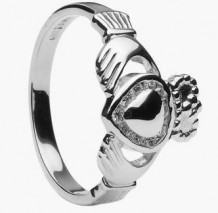 Ladies Diamond Claddagh Gold Heart CLAD30D