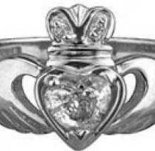 18k White Gold Diamond Claddagh Ring