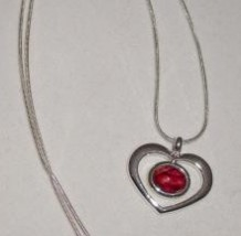Silver Heart Pendant with Heathergem HP21