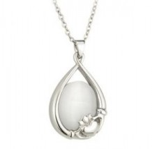 Claddagh Pendant with White Stone