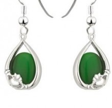 Claddagh Earrings with Colored Stone