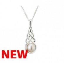 Silver Pearl Celtic Knot Pendant S46364