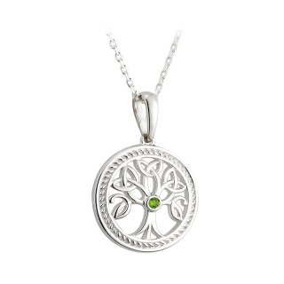 Tree of Life pendant with Green stone S45365