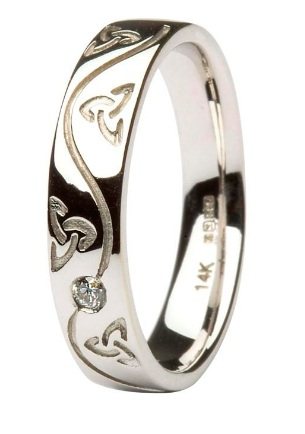 Celtic White Gold Diamond Wedding Ring 14IC53W