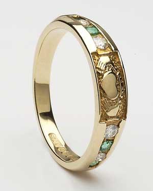 Ladies Eternity Diamond & Emerald Claddagh CLAD29DE