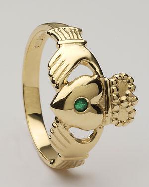 Gents Emerald Claddagh Ring Medium CLAD5ME