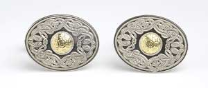 Oval Warrior Cufflinks with Bead WCL7B