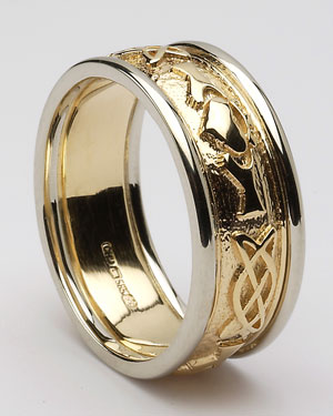 Mens Claddagh Celtic Band With Trims WED246