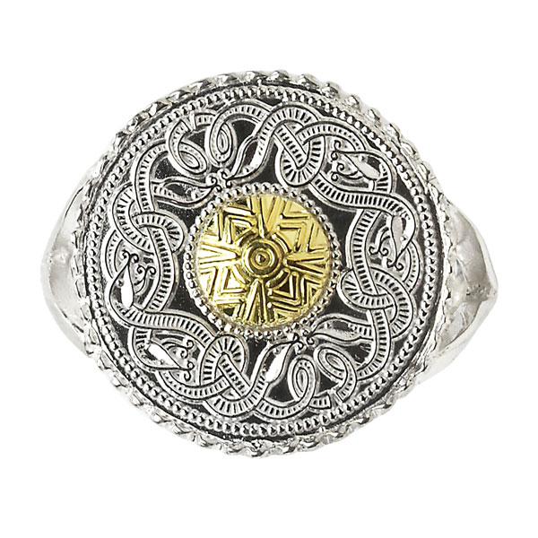 Celtic Warrior Shield Ring with 18K Gold Bead WR2B