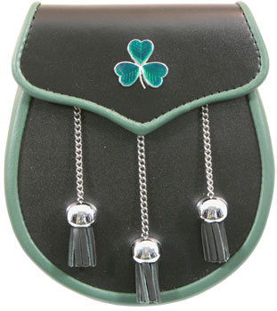 Irish Leather & Shamrock Sporran MSI-1030