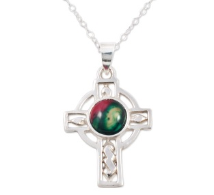 Celtic Cross Sterling Silver Heather Pendant SP401