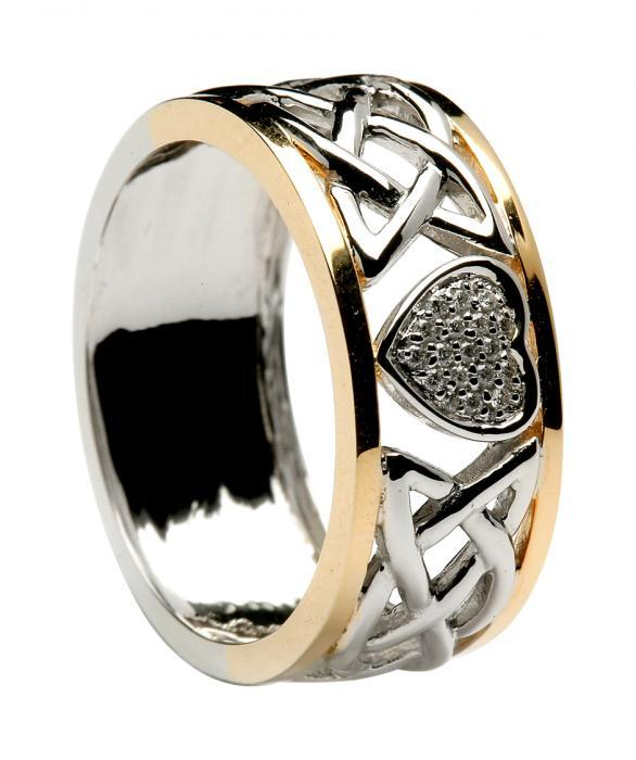 Diamond Encrusted 2 Tone Heart & Lovers Knot Wedding Band WED414